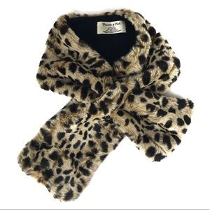 PRESTON & YORK Leopard Animal Print Faux Fur Scarf